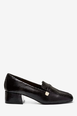 Black Low Block Hardware Loafers