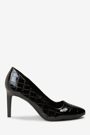 Black Regular/Wide Fit Almond Toe Court Shoes