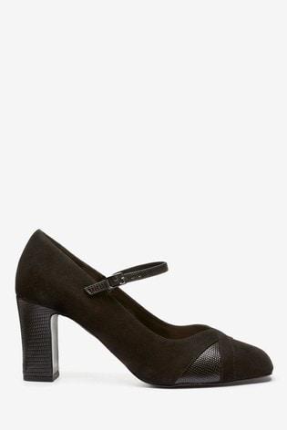 Black Mary Jane Court Shoes