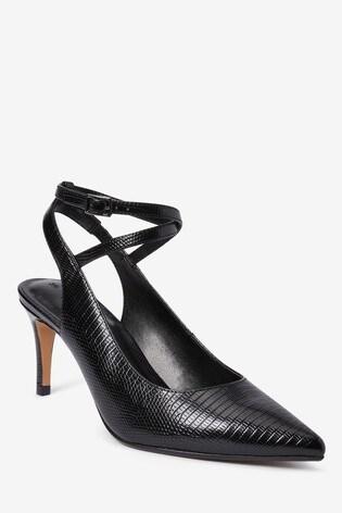 Black Ankle Strap Slingbacks