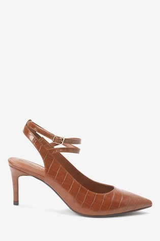 Tan Ankle Strap Slingbacks