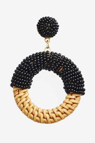 Black Beaded Raffia Earrings