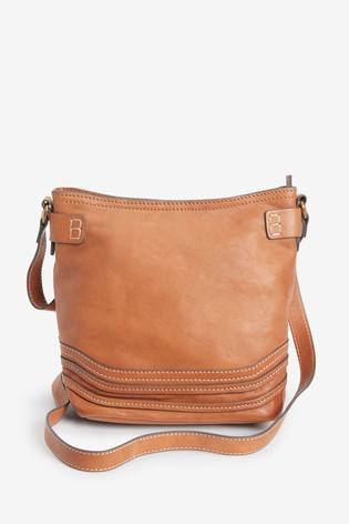 Tan Leather Stitch Bucket Bag