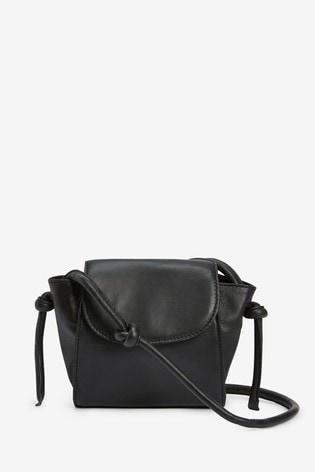 Black Knot Strap Leather Across-Body Bag