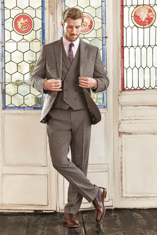 Tan Tailored Fit Tailored Fit Dogtooth Suit: Jacket