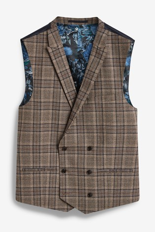 Taupe Waistcoat Check Tailored Fit Suit