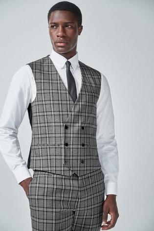 Grey/Charcoal Regular Fit Check Suit: Waistcoat