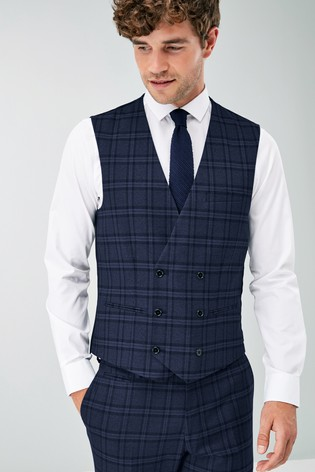 Blue Check Suit: Waistcoat