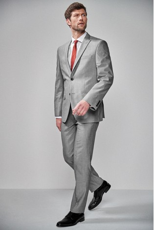 Light Grey Regular Fit Two Button Suit: Jacket
