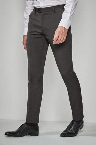 Charcoal Skinny Fit Suit: Trousers