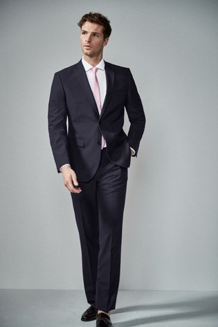 Navy Tailored Fit Two Button Suit: Jacket