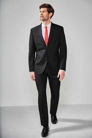 Black Regular Fit Two Button Suit: Jacket
