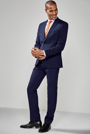 Bright Blue Slim Fit Two Button Suit: Jacket