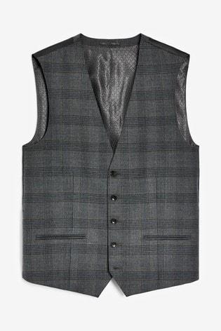 Grey/Blue Waistcoat Slim Fit Signature Check Suit: Jacket
