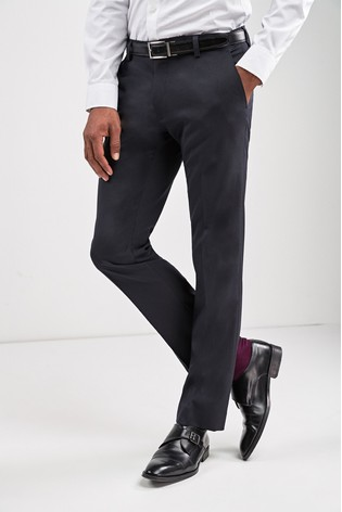 Navy Slim Fit Stretch Formal Trousers