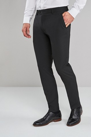 Black Skinny Fit Stretch Formal Trousers