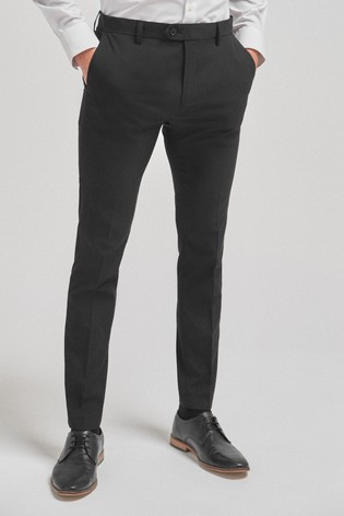 Black Super Skinny Fit Stretch Formal Trousers