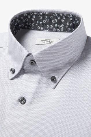 Grey Regular Fit Floral Contrast Trim Shirt