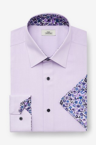Lilac Regular Fit Single Cuff Contrast Trim Shirt And Pocket Square Set