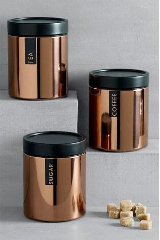 Set of 3 Copper Stacking Storage Tins