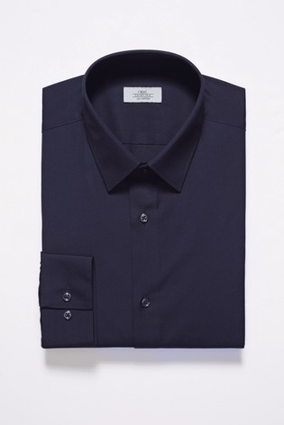 Navy Slim Fit Single Cuff Easy Care Shirt