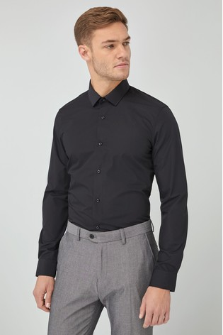 Black Slim Fit Single Cuff Easy Care Shirt