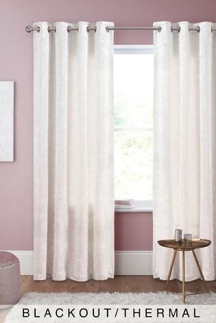 Crushed Velvet Eyelet Blackout/Thermal Curtains