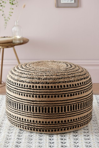 Black/Natural Jute Pouffe