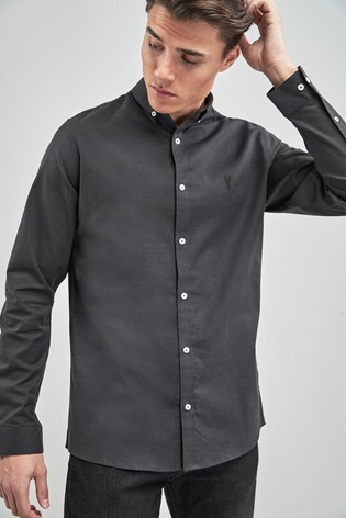Charcoal Slim Fit Long Sleeve Stretch Oxford Shirt