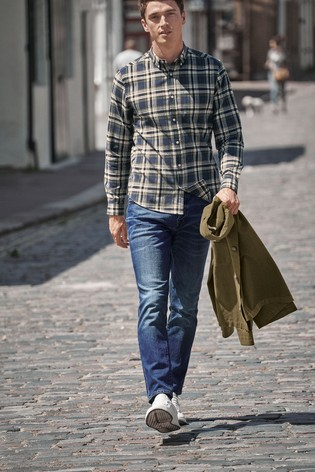 Navy/Khaki Regular Fit Brushed Flannel Check Long Sleeve Shirt