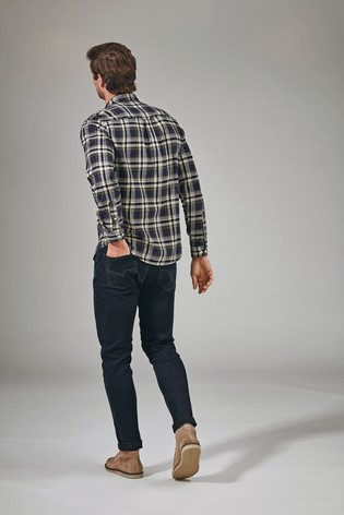 Navy/Khaki Regular Fit Brushed Flannel Check Long Sleeve Shirt