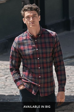 Grey/Red Regular Fit Brushed Flannel Check Long Sleeve Shirt
