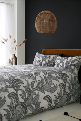 Textured Jungle Leaf Duvet Cover and Pillowcase Set