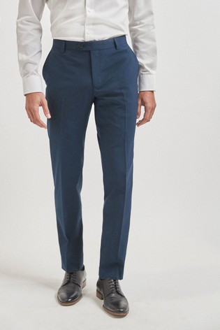 Bright Blue Tailored Fit Wool Mix Textured Suit: Trousers