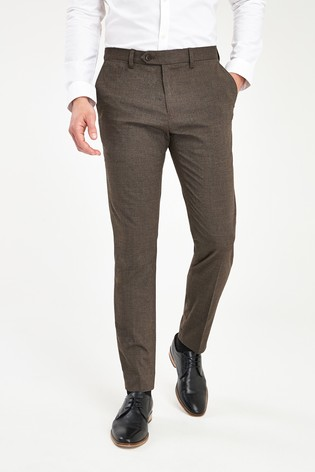 Taupe Skinny Fit Textured Trousers