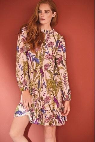 Blush Floral Frill Neck Shift Dress