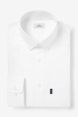 White Slim Fit Single Cuff Easy Iron Button Down Oxford Shirt