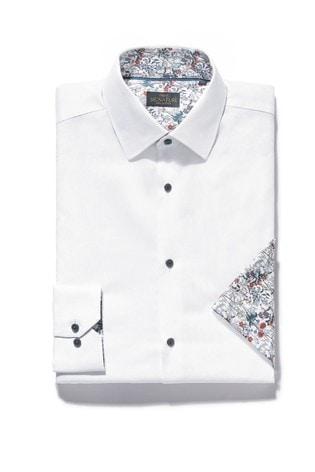 White Regular Fit Single Cuff Signature Contrast Trim Shirt And Pocket Square Set