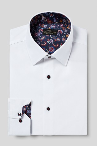 White Textured Signature Slim Fit Single Cuff Shirt With Trim Detail