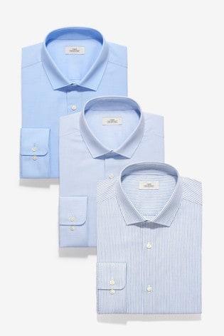Blue Slim Fit Single Cuff Stripe And Textured Shirts Three Pack