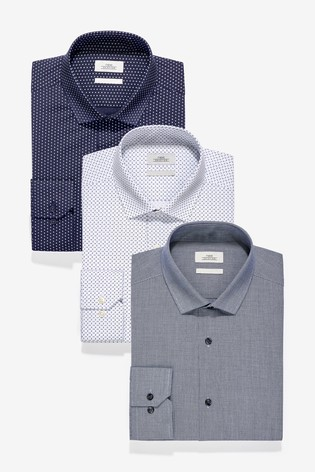 Blue Slim Fit Single Cuff Textured And Print Shirts Three Pack
