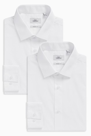 White Skinny Fit Single Cuff Shirts Two Pack