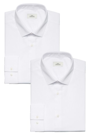 White Regular Fit Single Cuff Shirts Two Pack