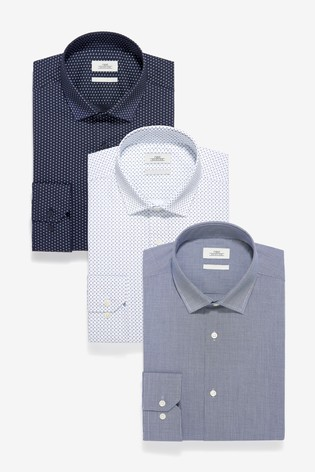 Blue Regular Fit Single Cuff Textured And Print Shirts Three Pack