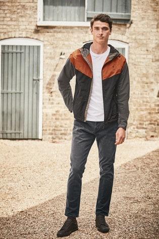 Burnt Orange Shower Resistant Colourblock Jacket With Fleece Lining