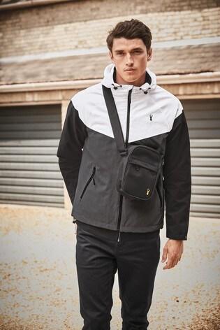 Black Shower Resistant Colourblock Jacket With Fleece Lining