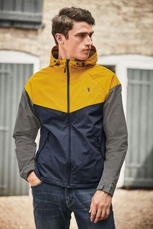 Ochre Shower Resistant Colourblock Jacket With Fleece Lining