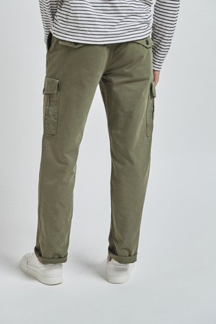 Green Straight Fit Premium Laundered Cargo Trousers