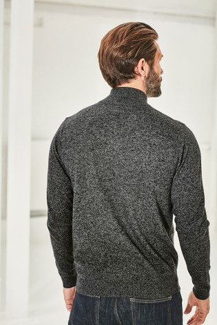 Dark Grey Marl Zip Neck Jumper