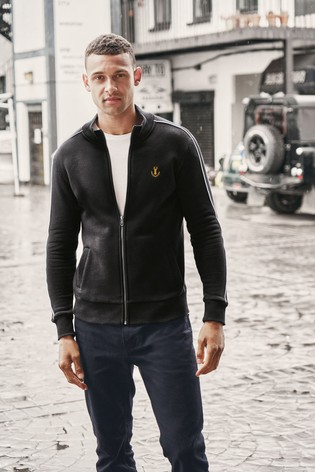 Black Zip Through Funnel Neck Piped Jersey